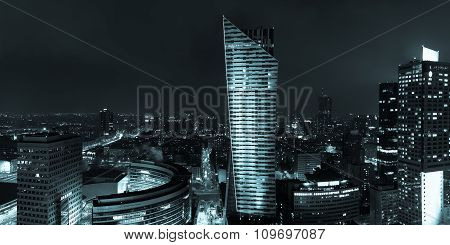 Night View Of  Warsaw Center City Building In Poland In Europe