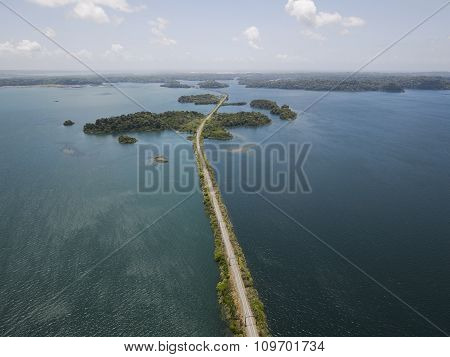 Aerial view of Panama Canal on the Atlantic side