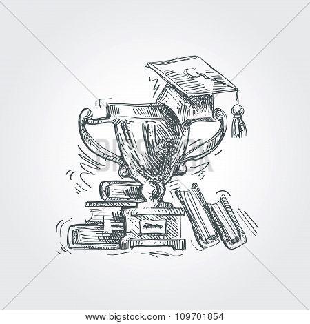 hand drawn sketch education, school. vector illustration