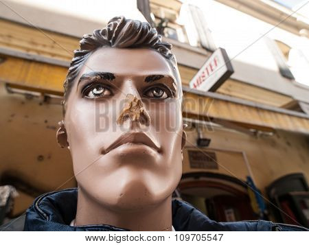 Mannequin Head With Broken Nose