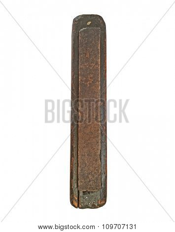 vintage sharpening stone in wooden stone over white, clipping path