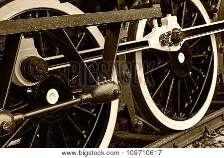 Sepia Detail And Close Up Of Huge Wheels At One Old Steam Locomotive 5