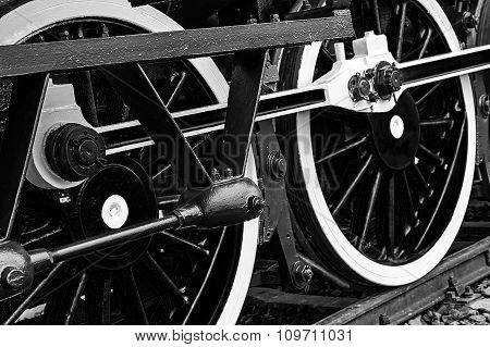 Black And White Detail And Close Up Of Huge Wheels At One Old Steam Locomotive 5