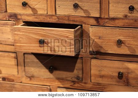 Wooden Sideboard With Small Drawers