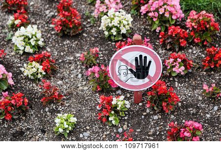 No Trespassing No Stepping On Flowers Sign.