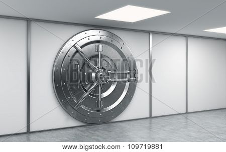 3D rendering of a big locked round metal safe in a bank depository a concept of security poster