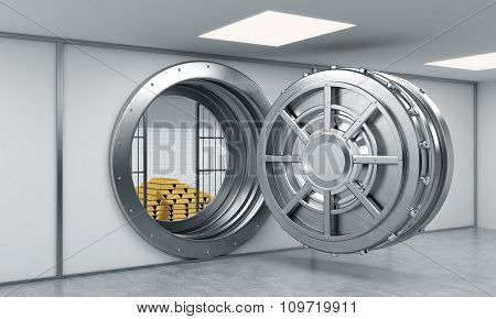 3D Rendering Of A Big Open Round Metal Safe In A Bank Depository With Locked Lock-boxes And  A Pyram