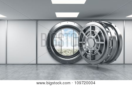3D Rendering Of A Big Open Round Metal Safe In A Bank Depository, Front View, A Concept Of Opportuni