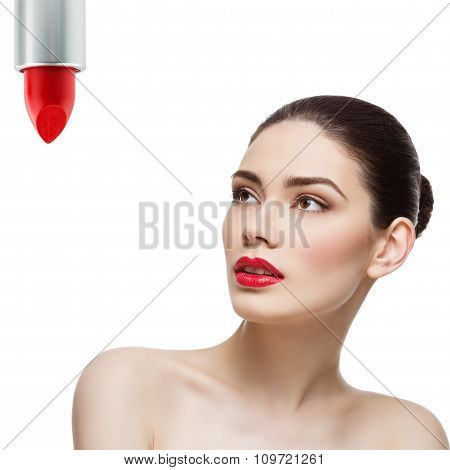 Beautiful girl with bright red lips