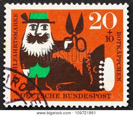 Postage Stamp Germany 1960 Forester And The Wolf, Scene From Lit