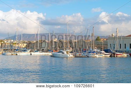 Many Yachts And Boats In The Harbor.