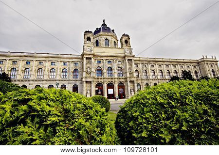 Vienna Austria - June 21 2015: Museum of Art History by Gottfried Semper in Vienna Maria-Theresien-Platz Austria poster