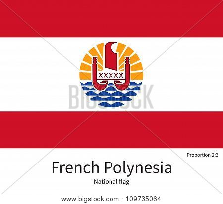 National flag of French Polynesia with correct proportions, element, colors for education books and official documentation poster