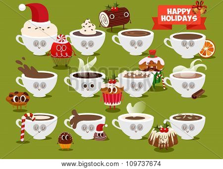 Postcard Valentine's Day. Set Cup of coffee with pieces of cookies. Comic food. Illustration with fu