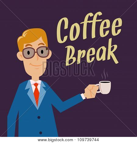 Businessman Holding Cup For Coffee Break