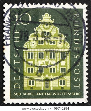 Postage Stamp Germany 1957 Landschaft Building, Stuttgart