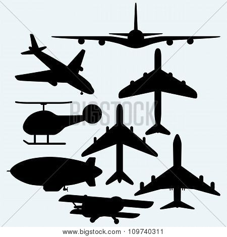 Set jets, dirigible, helicopter