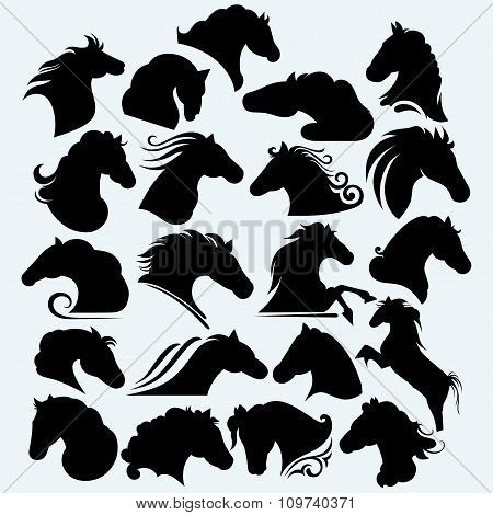 Set icon wild horses