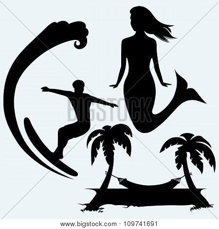 Surfer on ocean wave, cute mermaid and romantic hammock between palm trees
