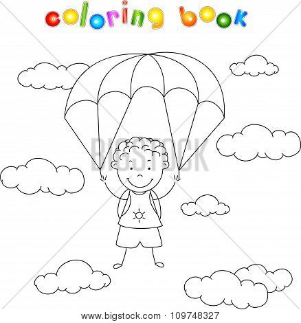 Boy Parachutist Descends From The Sky On A Parachute Through The Clouds. Coloring Book