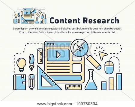 Content Marketing Research Thin Line Icon Design