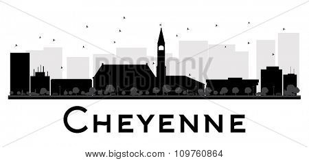 Cheyenne City skyline black and white silhouette. Vector illustration. Simple flat concept for tourism presentation, banner, placard or web site. Business travel concept. Cityscape with landmarks