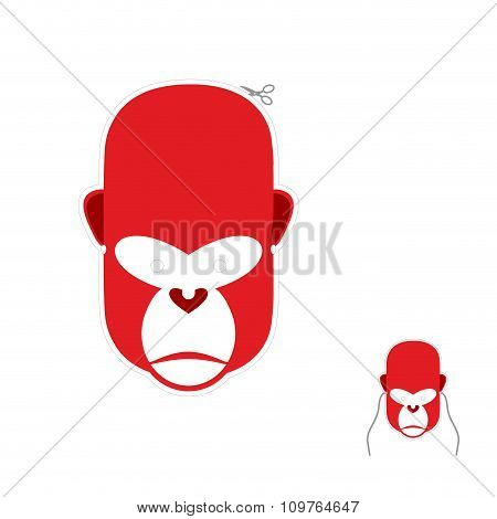 Red Monkey Mask For New Year. Carnival Mask To Celebrate Christmas And New Year. Primacy Of  Symbol