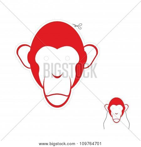 Festive Red Monkey Mask. Symbol Of New Year.