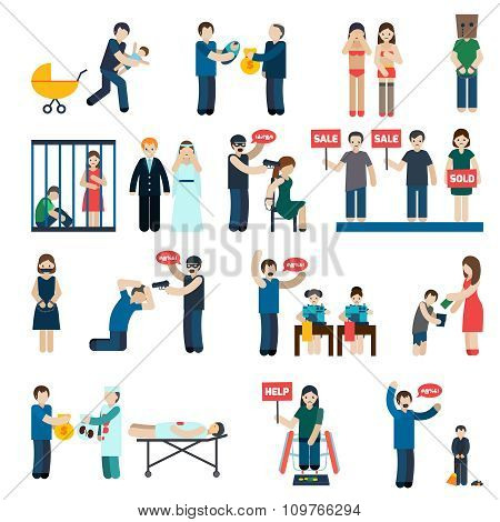 Human Trafficking Flat Icons Set