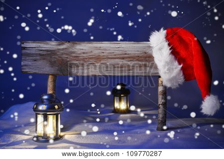 Christmas Card With Sign, Candlelight Santa Hat, Happy Holidays