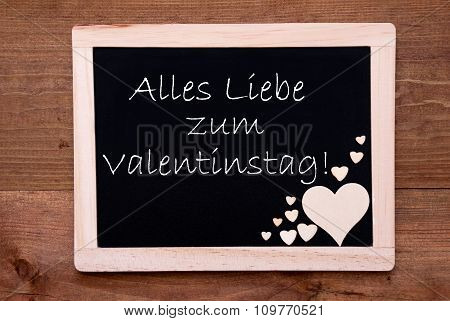 Blackboard With Hearts, Text Liebe Valentinstag Means Happy Valentines Day
