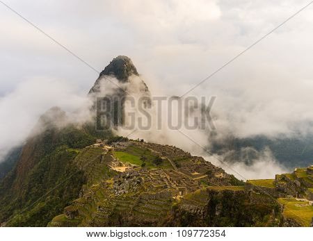 First Soft Light On Machu Picchu From Opening Clouds