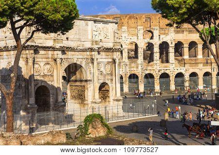 Colosseo and arco di costantino,  Rome