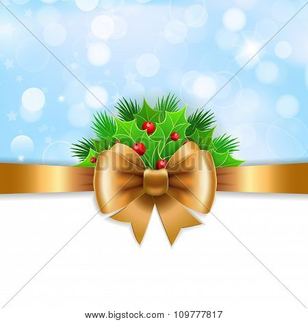Gold Ribbon,  Bow And Holly Berry On Blue Background.
