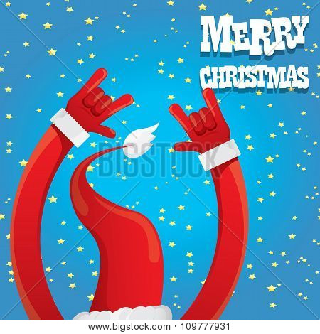 Santa Claus hand rock n roll vector illustration.