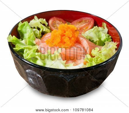 Bowl Of White Rice Topping With Salmon And Vegetable