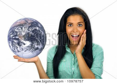 Beautiful Excited Teen Latina Holds The Earth