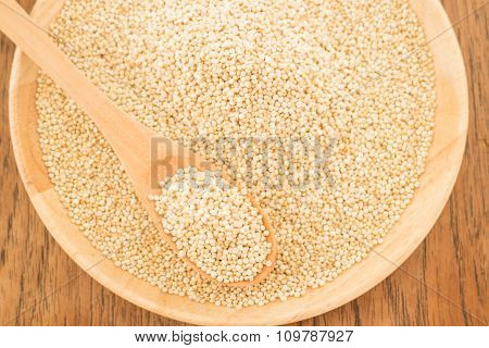 Quinoa Grain In Wooden Plate