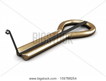 Old jaw harp isolated on white background. 3d rendering. poster