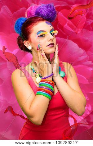 Female Model in Pink Dress