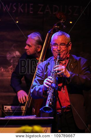 CRACOW POLAND - OCTOBER 30 2015: Boba Jazz Band playing live music at The Cracow Jazz All Souls Day Festival in Jaszczury Club. Cracow. Poland