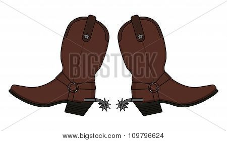 Wild west leather cowboy boots