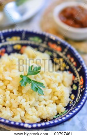 Bulgur - Boiled whole bulguror burghul wheat. This is a staple of Turkish cuisine.
