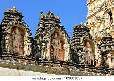 Detail of Shiva-Virupaksha Temple located in the ruins of ancient city Vijayanagar at Hampi India