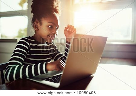 Little Girl Working On Her Homework