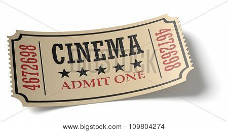 Vintage Cinema Ticket With Shadow