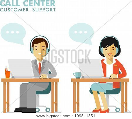 Call center online customer support people operator concept