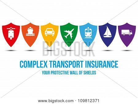 Complex transport insurance design concept with wall of shields every shield symbolizes protection for different type of transport: car bike plane train yacht truck. Rainbow colors concept poster