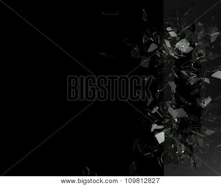 Broken Glass From The Blow, Shot On A Black Isolated Background