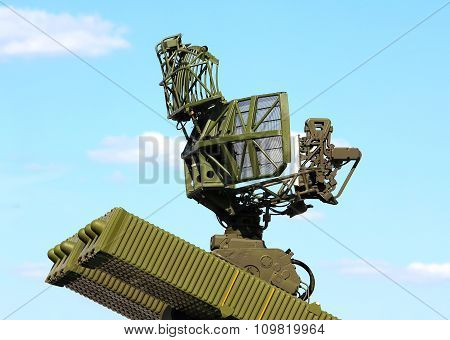 MOSCOW REGION  -   JUNE 18:  All-around antenna for air defense complex on a rotating platform -  on June 18, 2015 in Moscow region
